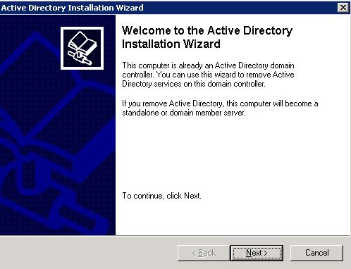 мастер установки Active Directory