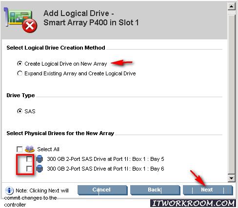 Выбрать физические диски для нового массива