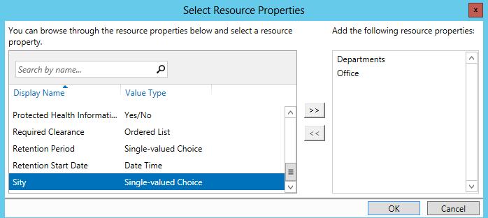 выбор свойств ресурсов