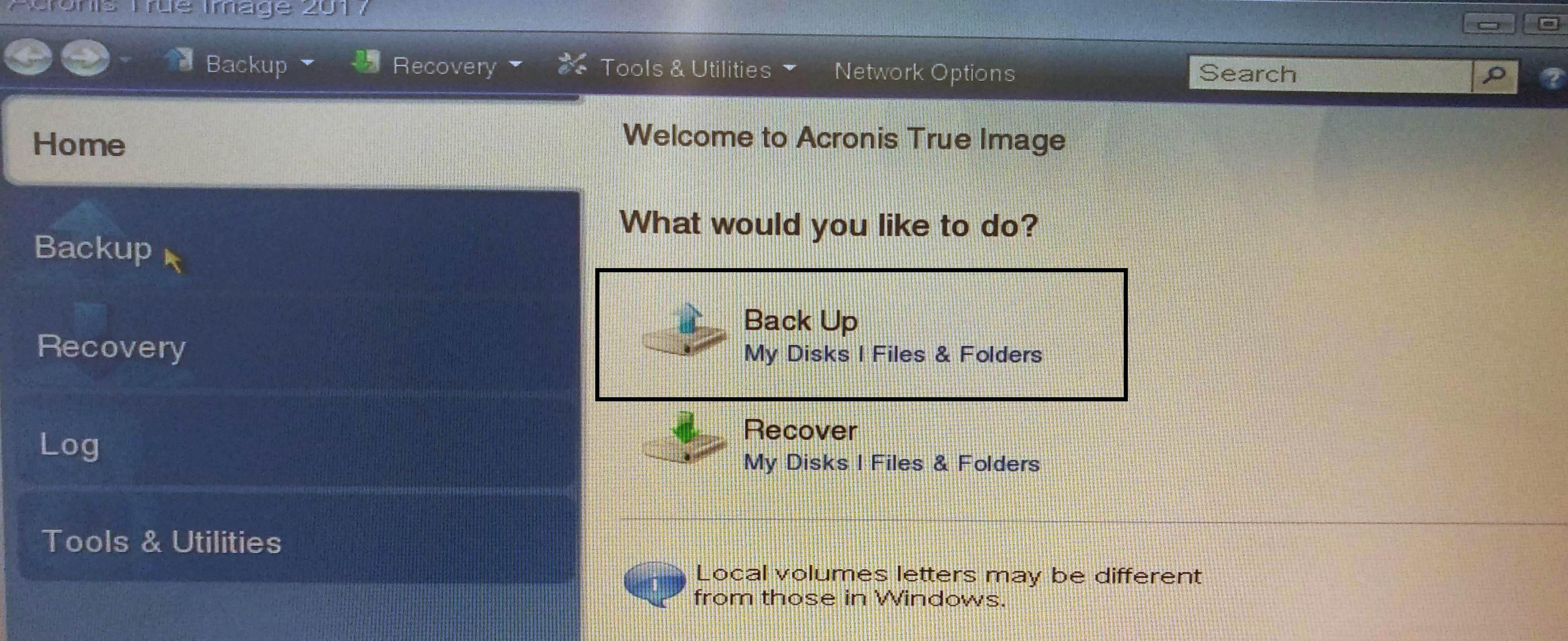 Резервное копирование физического сервера ПО Acronis True Image 2017