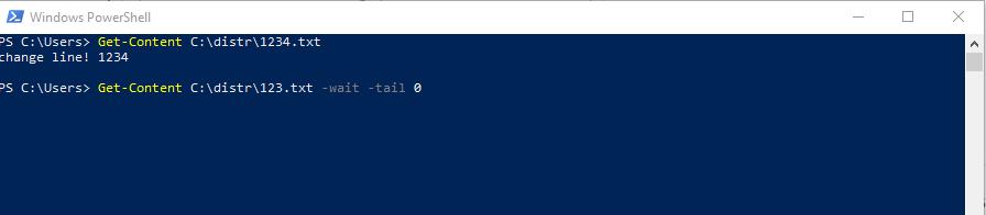 Командлет запускается и ожидает появления в файле новых строк, при появлении немедленно выводит их на экран.