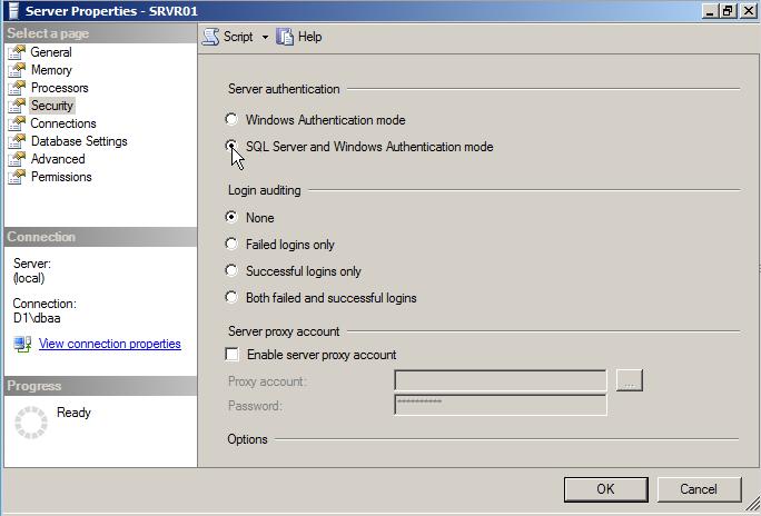 выбор типа аутентификации ms sql server