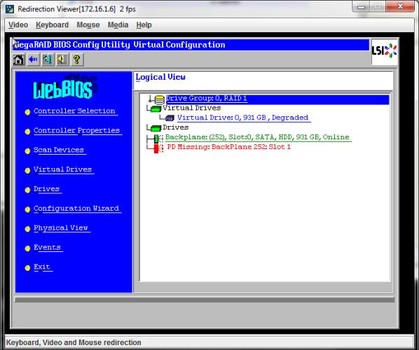 Переключившись на «физический вид» и выбрав диск, показанный как «Unconfigured Bad»