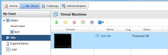 перейдите на вкладку My Cloud - VMs
